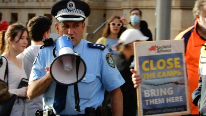 Police on megaphone