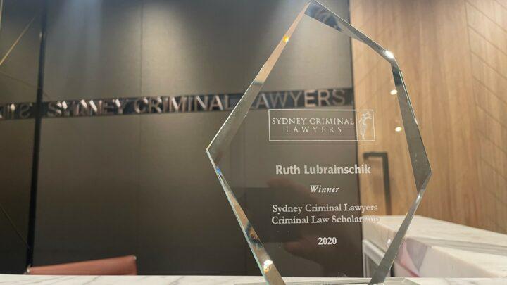Sydney Criminal Lawyers Scholarship trophy