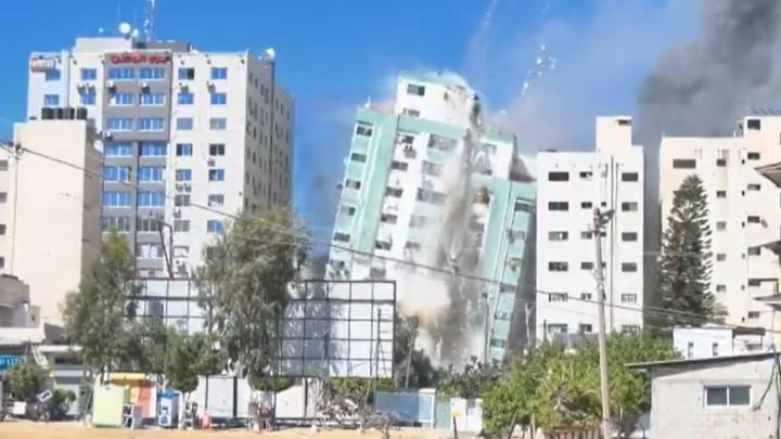 Gaza press tower collapse