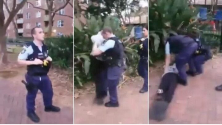 Police officer assaulting teenager